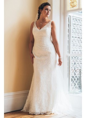 2021 New Arrival Sheath V Neck Plus Size Lace Wedding Dresses / Bridal Gowns