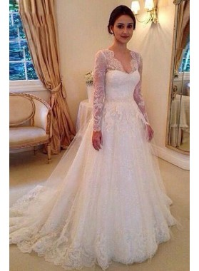 2020 Elegant A Line/Princess Long Sleeves Sweetheart Lace Long Wedding Dresses / Bridal Gowns