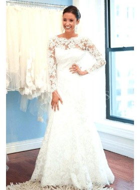 2020 New Arrival Sheath Long Sleeves Backless Bateau Beaded Lace Wedding Dresses / Bridal Gowns