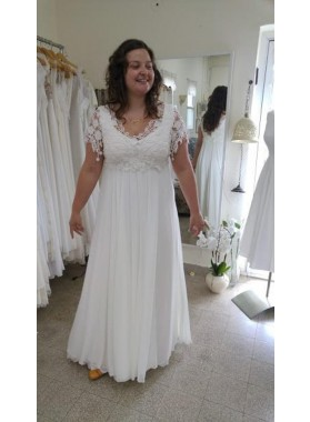 Cheap A Line/Princess Chiffon Capped Sleeves Lace Beach Wedding Dresses / Bridal Gowns 2020