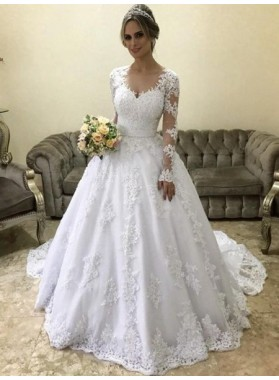 2021 Hot Sale Long Sleeves See Through Tulle Appliques Ball Gown Wedding Dresses
