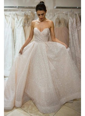 2021 New Arrival A Line Sweetheart Pleated Bling Bling Hot Sale Wedding Dresses