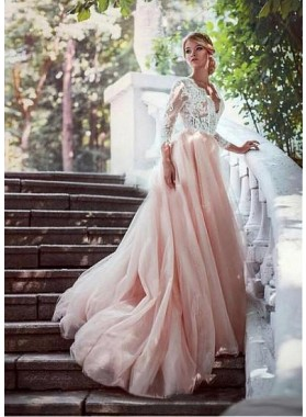 2021 Alluring A Line Tulle Pink V Neck Long Sleeves Lace Hot Sale Wedding Dresses