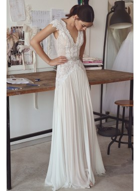 Cheap A Line V Neck Chiffon Lace Backless Beach Hot Sale Wedding Dresses 2021