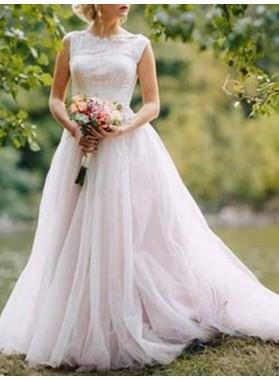 2021 Elegant A Line Tulle Lace Up Back Lace Hot Sale Wedding Dresses