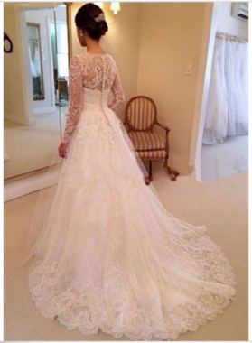 2020 Hot Sale A Line Long Sleeves Lace Sweetheart Long Amzing Wedding Dresses