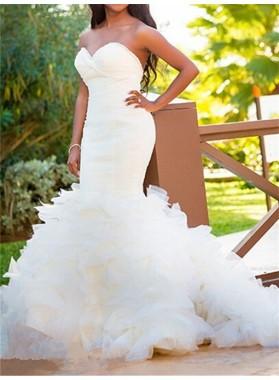 2020 Hot Sale Mermaid Sweetheart Ruffles White Tulle Sweetheart Long Wedding Dresses