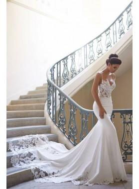 2021 Sexy Mermaid Sweetheart Spaghetti Straps Satin Long Hot Sale Wedding Dresses