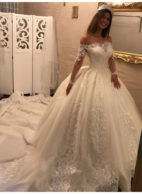 2020 Charming Long Sleeves Off Shoulder Ball Gown Lace Hot Sale Wedding Dresses