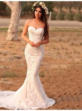 2020 Hot Sale Mermaid Sweetheart Lace Pearl Pink Wedding Dresses
