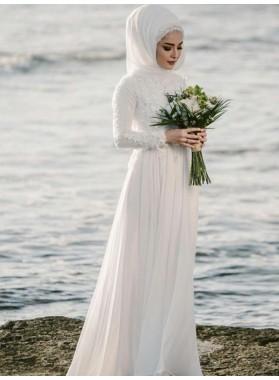 2020 Hot Sale A Line Chiffon Long Sleeves Lace Muslin Beach Wedding Dresses