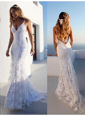 2020 Hot Sale Mermaid Halter Lace Up Backless Lace Beach Wedding Dresses