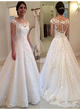 2020 New Arrival A Line Hot Sale Capped Sleeves Bateau Lace Wedding Dresses