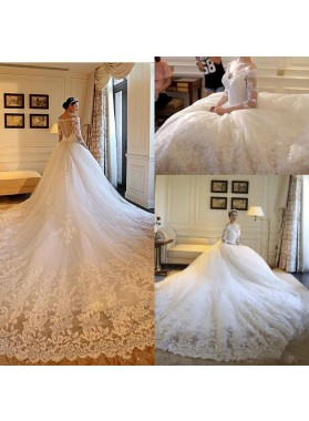 2020 Hot Sale A Line Long Sleeves Off Shoulder Long Train Lace Wedding Dresses