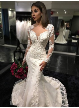 2020 Newly Mermaid Long Sleeves See Through Back Sweetheart Wedding Dresses