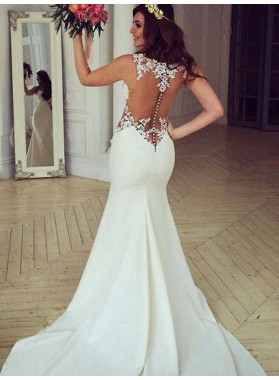 2020 New Arrival Sheath See Through Back Bateau Sweetheart Lace Wedding Dresses