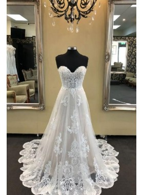 2020 Elegant A Line Sweetheart Lace Hot Sale Beach Wedding Dresses