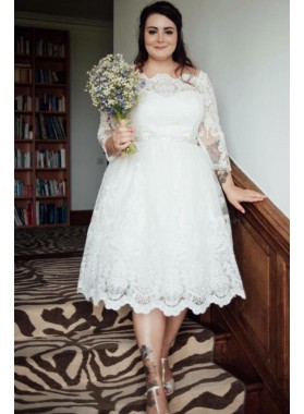 Cheap A Line Off Shoulder Long Sleeves Tea Length Short Plus Size Wedding Dresses 2020