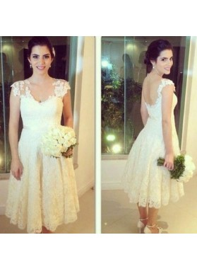 2020 New Arrival A Line Lace Tea length Short Backless Beach Wedding Dresses