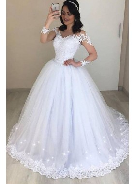 2020 Hot Sale White Long Sleeves Tulle Ball Gown Wedding Dresses With Appliques