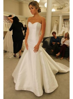 2020 Cheap Mermaid Satin Sweetheart Long Wedding Dresses