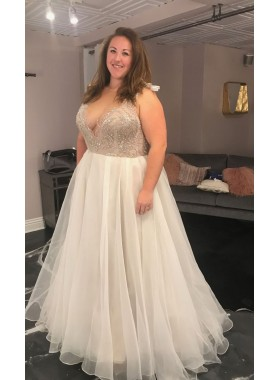 2020 Amazing A Line Chiffon Sweetheart Beaded Plus Size Wedding Dresses