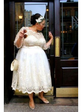 Cheap A Line Long Sleeves Lace Tea Length Short Plus Size 2020 Wedding Dresses