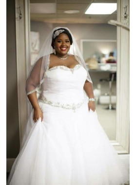 Cheap A Line Sweetheart Pleated White Tulle Plus Size Wedding Dresses 2020
