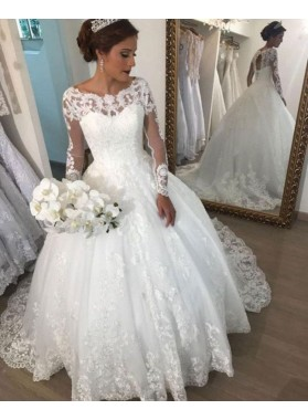 Amazing White Long Sleeves Bateau Lace Ball Gown Wedding Dresses 2020