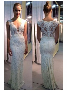 2020 Charming Sheath Lace Open Front Floor Length Cheap Wedding Dresses