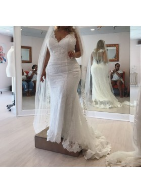 New Arrival Mermaid V Neck See Through Back Lace Wedding Dresses 2020