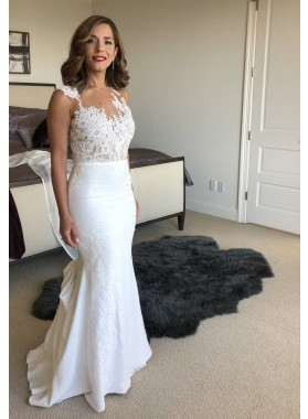 2020 Elegant Sheath White Scoop Lace Cheap Beach Wedding Dresses