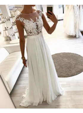 2020 Cheap A Line Chiffon Scoop Beach Wedding Dresses With Appliques