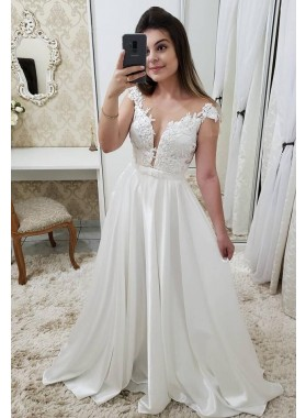 2020 New Arrival A Line Satin Capped Sleeves Open Front Beach Wedding Dresses With Appliques