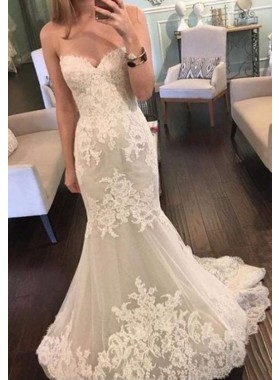 2020 Newly Mermaid Sweetheart Empire Strapless Lace Wedding Dresses