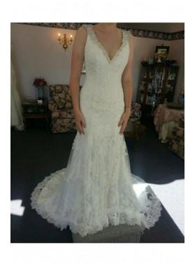2020 New Arrival Sheath V Neck Beaded Lace Wedding Dresses