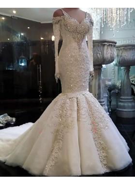 2021 Luxury Mermaid Long Sleeves Sweetheart Beaded Tulle Hollow Out Wedding Dresses
