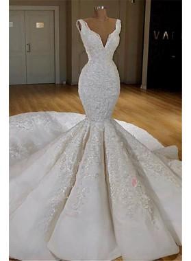 Sexy Mermaid V Neck Long Train Satin Lace Wedding Dresses 2021
