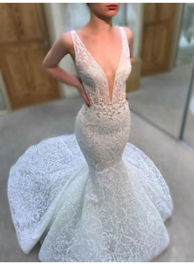New Arrival Mermaid White V Neck Open Front Backless Lace Wedding Dresses 2021