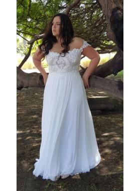 2021 Cheap A Line Chiffon Off Shoulder Floor Length Plus Size Lace Beach Wedding Dresses