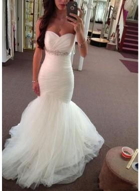 Cheap Mermaid Sweetheart Beaded Tulle Pleated Wedding Dresses 2021