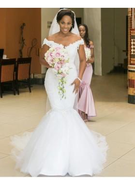 2021 Amazing Mermaid Sweetheart Off Shoulder Tulle Lace Wedding Dresses