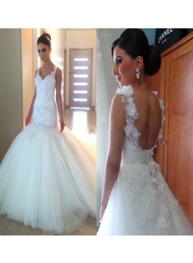 2021 Cheap Mermaid Tulle Sweetheart Backless Lace Wedding Dresses