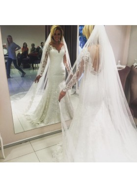 New Arrival Mermaid Long Sleeves Sweetheart Lace Backless Wedding Dresses 2021