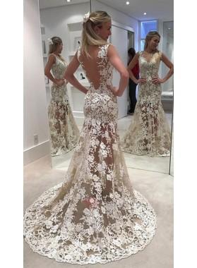Cheap Sheath Backless Champagne Sweetheart Lace Wedding Dresses 2021