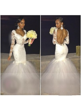 Sexy Mermaid Backless Long Sleeves Sweetheart Tulle Lace Wedding Dresses 2021