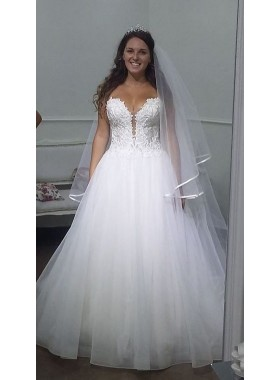 Cheap Sweetheart White Organza Lace Ball Gown Wedding Dresses 2021