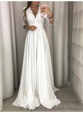 Cheap A Line Long Sleeves Chiffon Lace V Neck Beach Wedding Dresses 2021