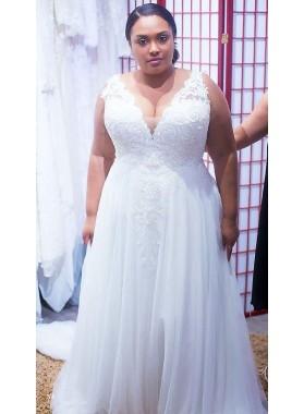 Cheap A Line White Tulle V Neck Lace Plus Size Wedding Dresses 2021