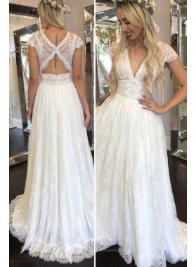 2021 Cheap A Line V Neck Capped Sleeves Lace Beach Wedding Dresses